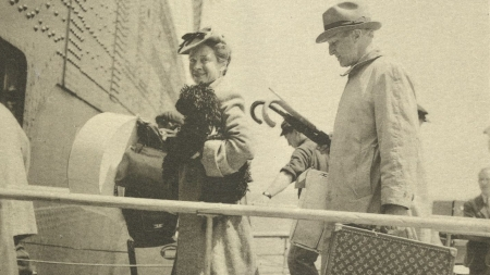 Frances and Philip Hofer embarking on one of their many journeys to Europe, circa 1954.