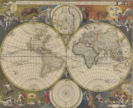 A double hemisphere map of the world from 1690 with brightly colored astrological figures in the corners.