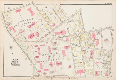 G.W. Bromley & Co., Atlas of the City of Cambridge, 1903: The page for Harvard Yard in a 1903 fire insurance atlas (brick buildings in red).