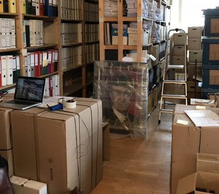 Boxes of archival material