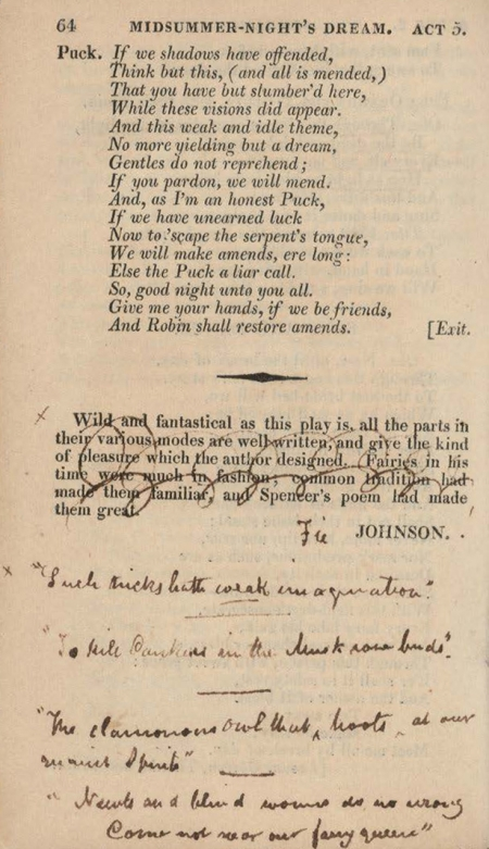 "John Keats comments on Samuel Johnson's critique of Shakespeare's A Midsummer Night's Dream: ""Fie, Johnson!"""