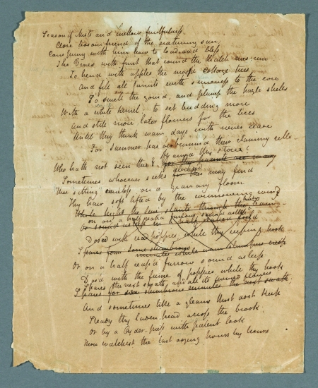 "John Keats. ""To Autumn."" Autograph manuscript, 1819."