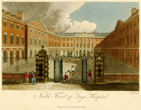 North Front of Guy's Hospital. Hand-colored engraving, 1815.