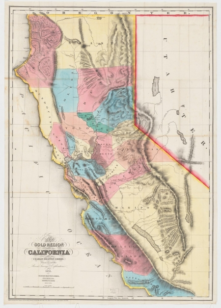 Colorful map, dating back to 1851, of California with designations regarding the location of gold