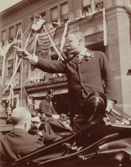 Theodore Roosevelt delivering a speech from a carriage in Connecticut.