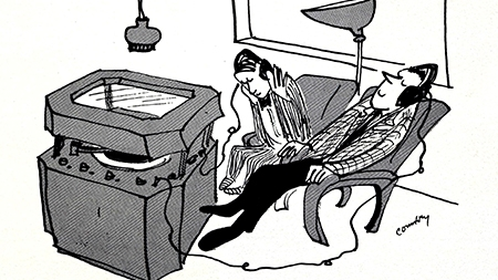 Cartoon of students listening to records in the Lamont Poetry Room
