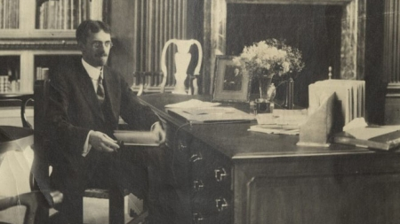 George Parker Winship in the Widener Memorial Room, circa 1920.