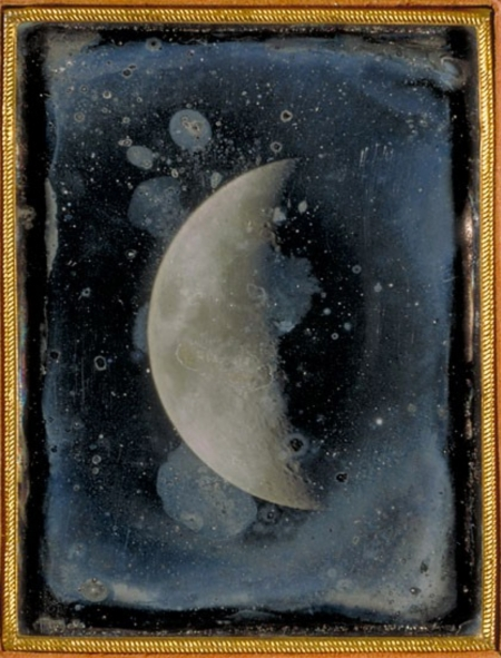 Moon. Quarter-plate daguerreotype by John Adams Whipple, 1851. Harvard College Observatory Library