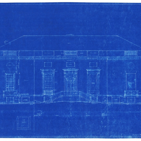 A blueprint of the front of Houghton Library.