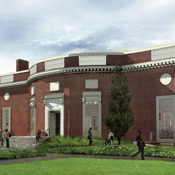 Architects rendering of new Houghton Library, front