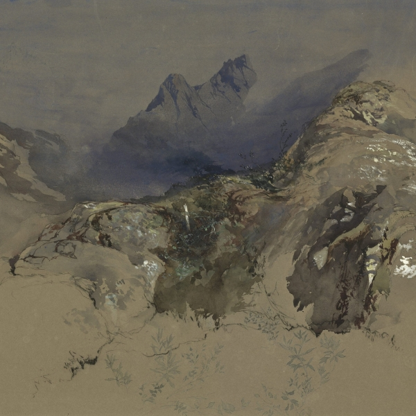 John Ruskin (1819-1900). Study of Rocks and Lichens in the Glen below the Montets in the Ascent to Chamonix, 1849.