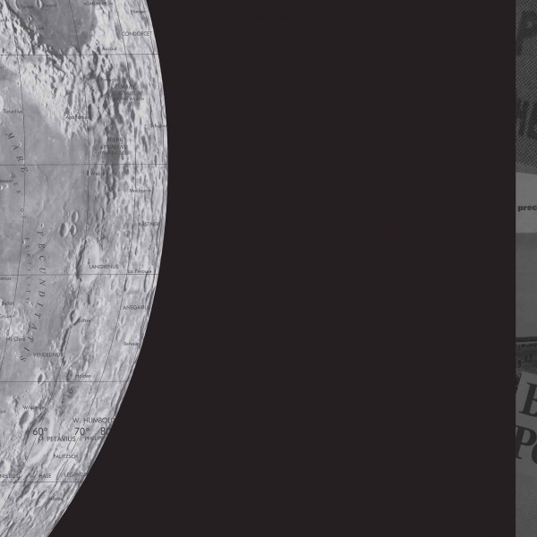 Detail of the moon on the left, collage of newspapers to the right