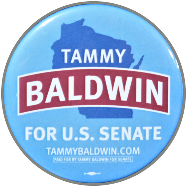 blue button that reads Tammy Baldwin for US Senate
