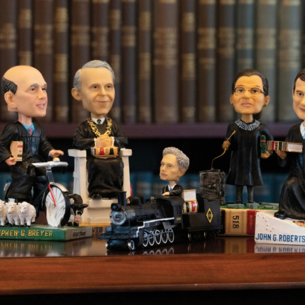 Dolls in the likeness of Supreme Court justices.
