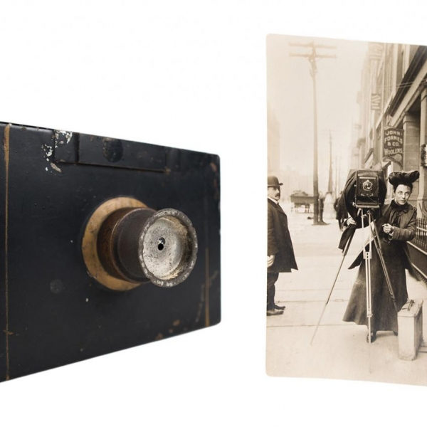 Jessie Tarbox Beals (1870–1942) was one of the earliest women photojournalists. The small box camera, which Beals acquired in 1888, is thought to be her first. (Jessie Tarbox Beals Papers, Schlesinger Library)