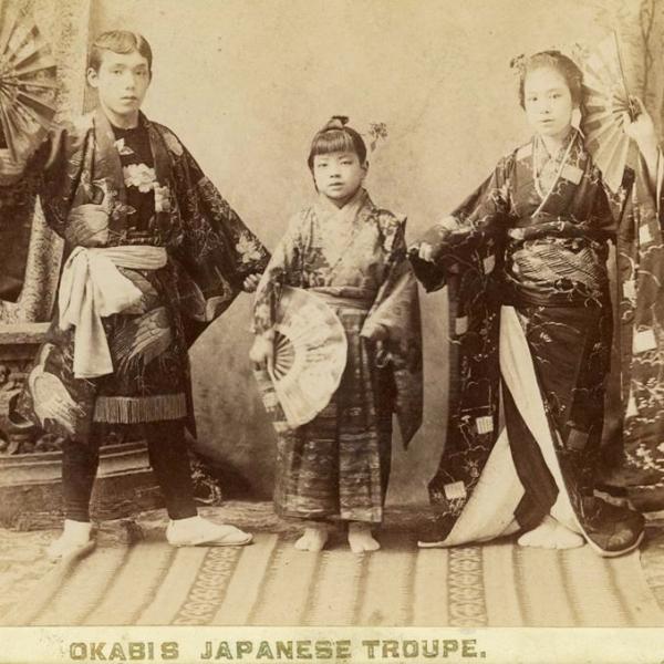 Okabis Japanese Troupe (vaudeville performers), ca. 1890.