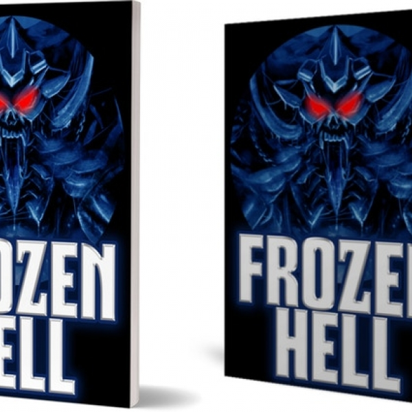 Book covers for 'Frozen Hell,' with an alien illustration.