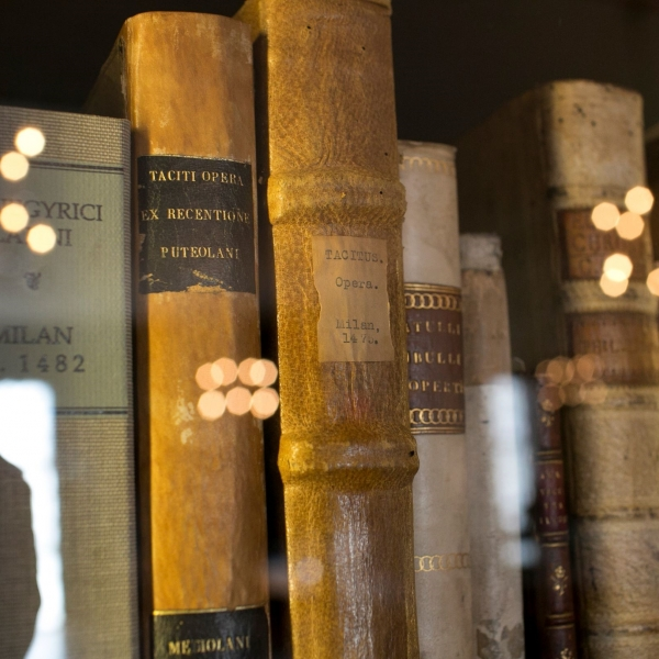 Books with lights reflected on them