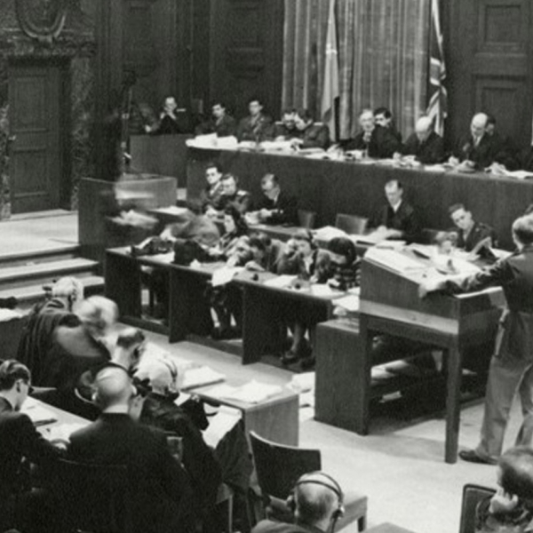 Photo of a courtroom during the Nuremberg Trials
