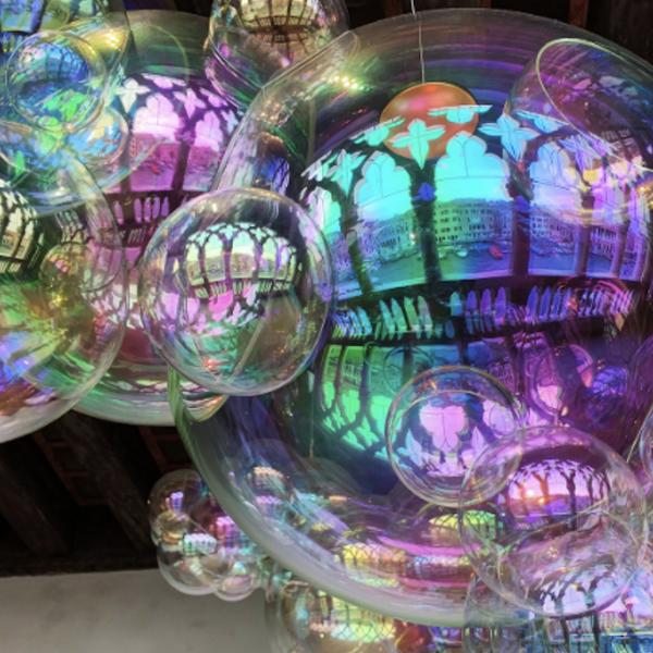 Rainbow-colored glass balls