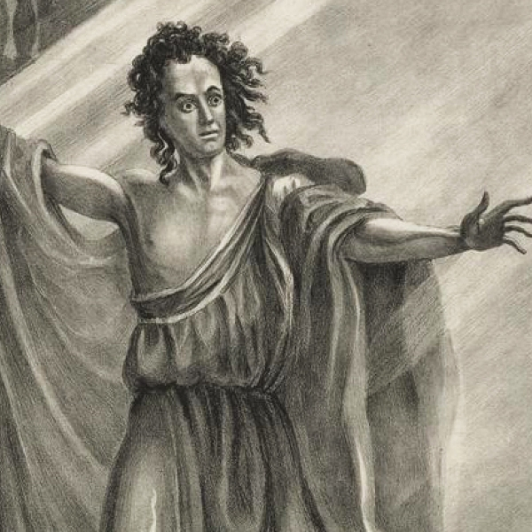 A drawing of T.P. Cooke as the monster in Presumption; or, The Fate of Frankenstein, circa 1824.