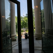 The front doors of Widener Library