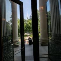 The front doors of Widener Library